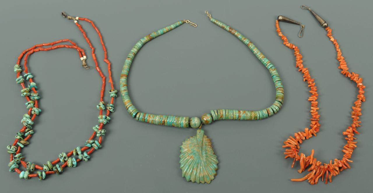Lot 679: Vintage Turquoise and Coral Necklaces, 3 pcs.