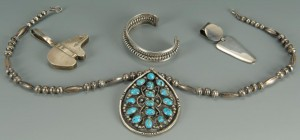 Lot 680: Navajo and Mexican silver jewelry, 4 pcs