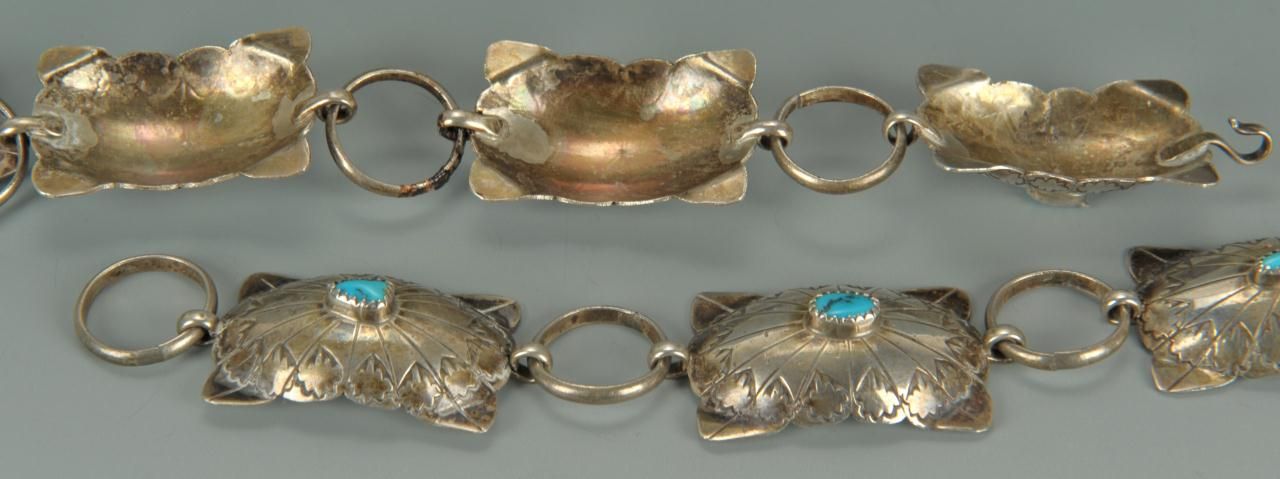 Lot 681: Navajo sterling and turquoise belt and earrings