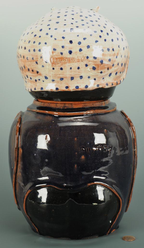 "Lot 690: NC Folk Pottery, Albert Hodge, ""Mammie"" Cookie Jar"