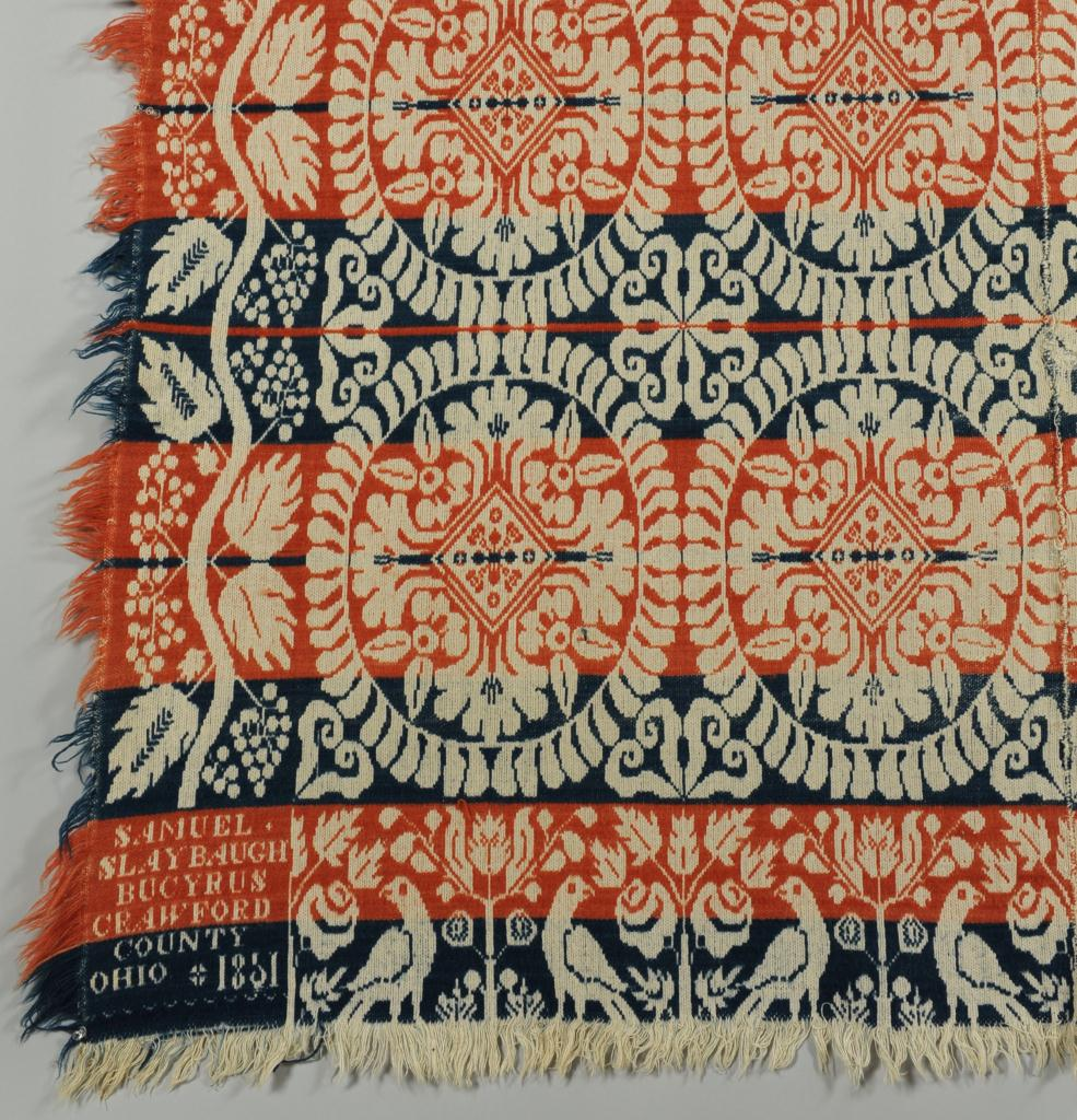 Lot 694: Signed & Dated 1851 Ohio Coverlet
