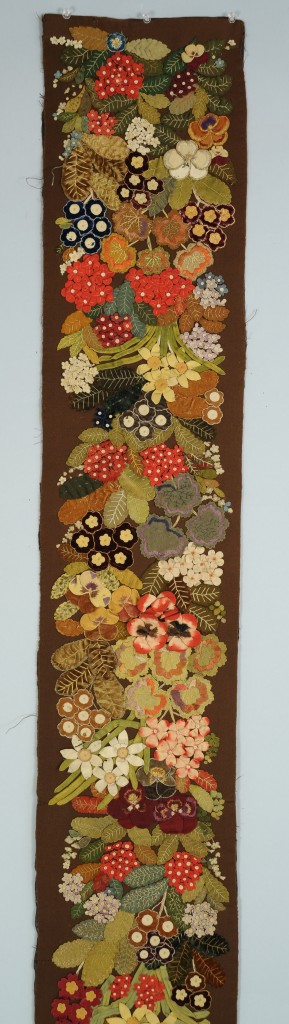 Lot 697: Victorian runner w/ applied velvet flowers