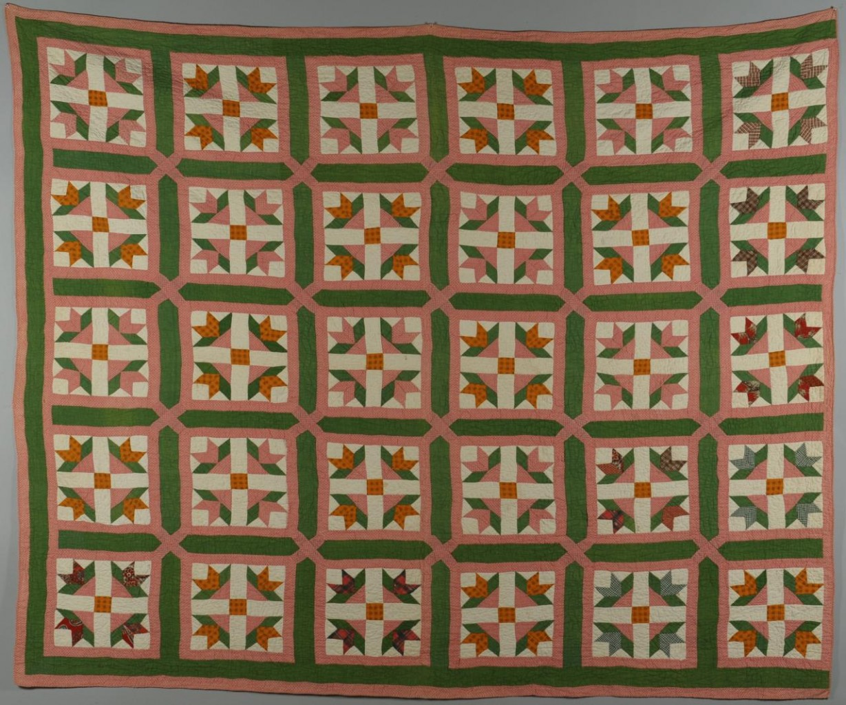 Lot 698: Ohio quilt, Tulip Variation Pattern