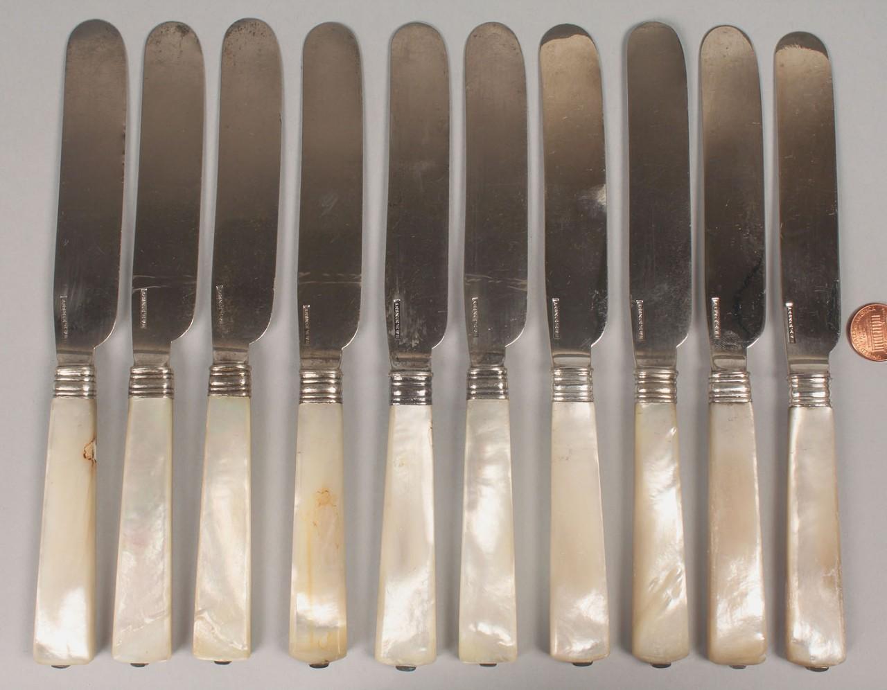Lot 69: 10 Kinsey silver knives w/pearl handles