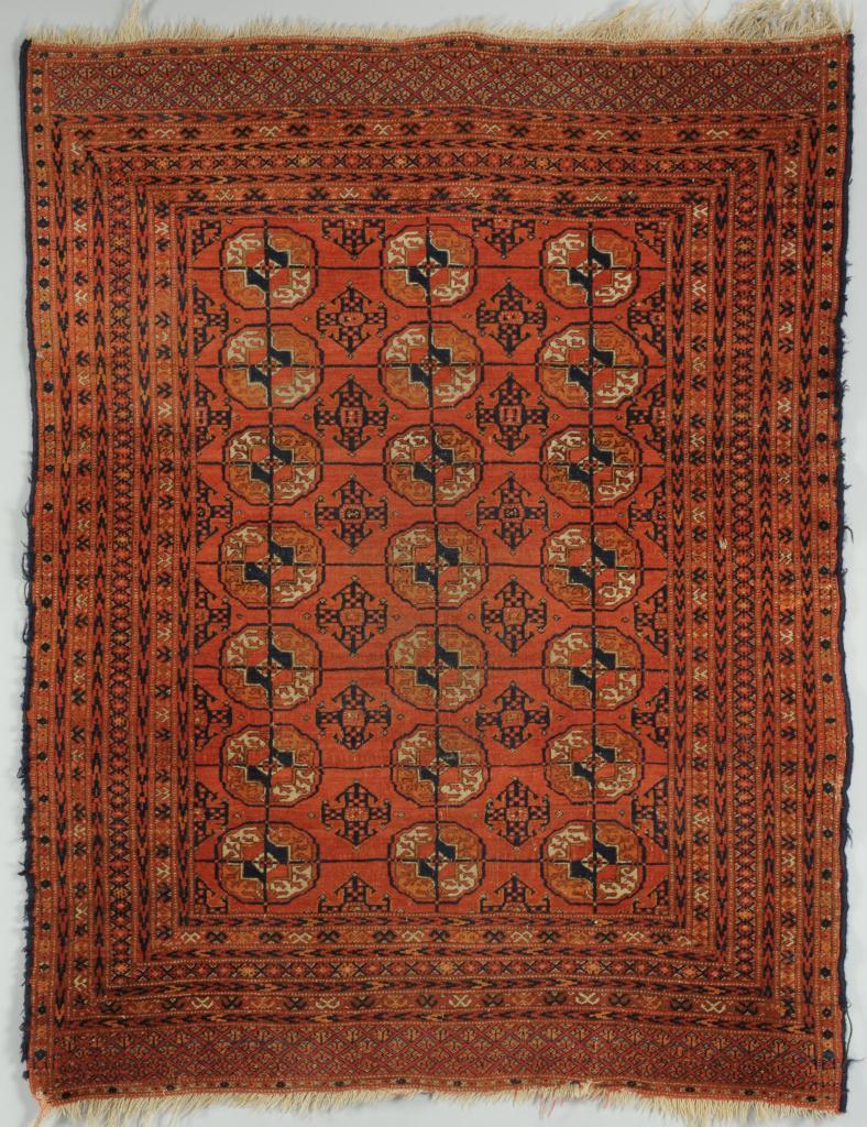 "Lot 701: Persian Tekke Turkoman Bokhara Rug, 4'2"" x 3'3'"