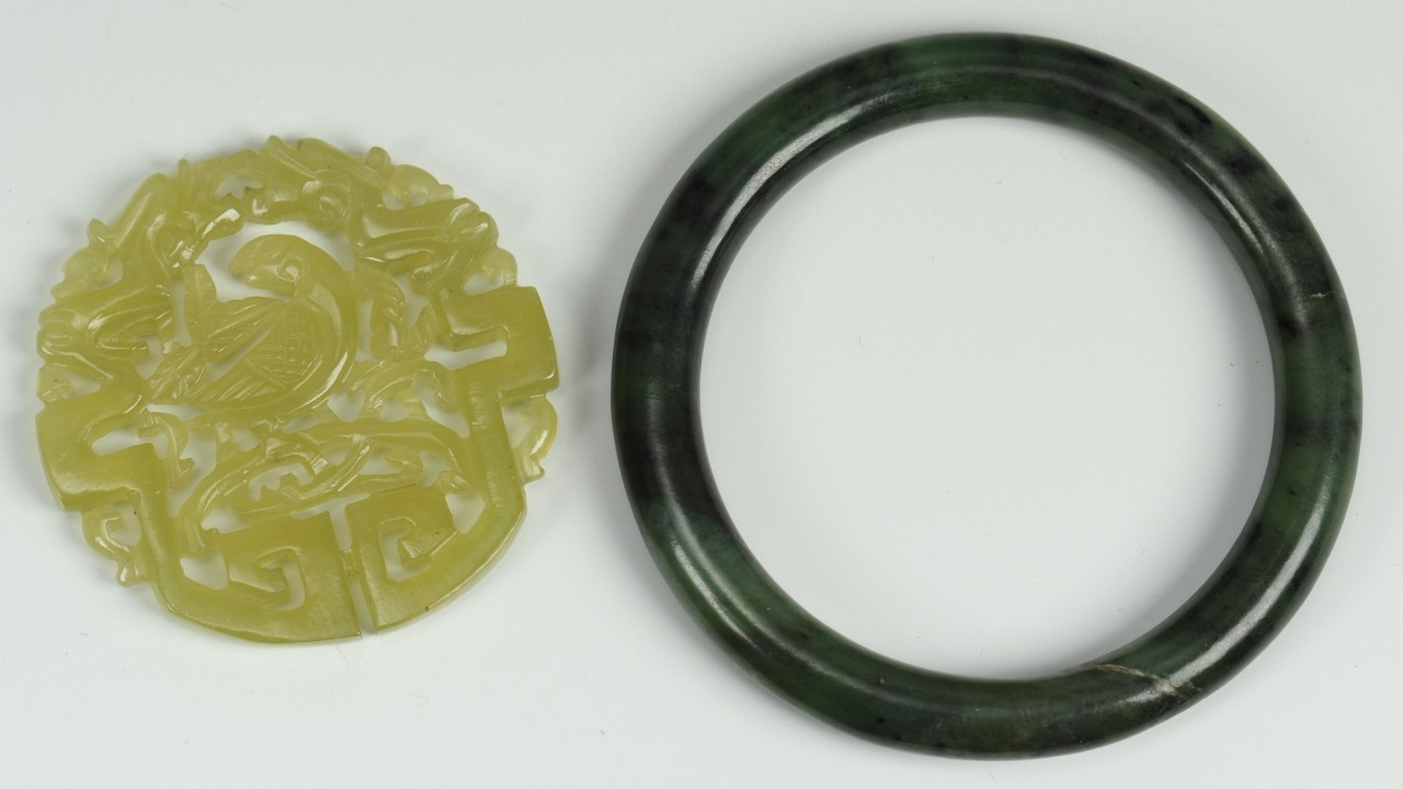 Lot 705: 2 pcs. Chinese Jade: Bi disc and bracelet
