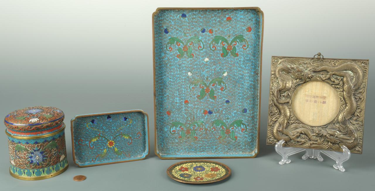 Lot 708: 5 Chinese Cloisonne and Brass Items