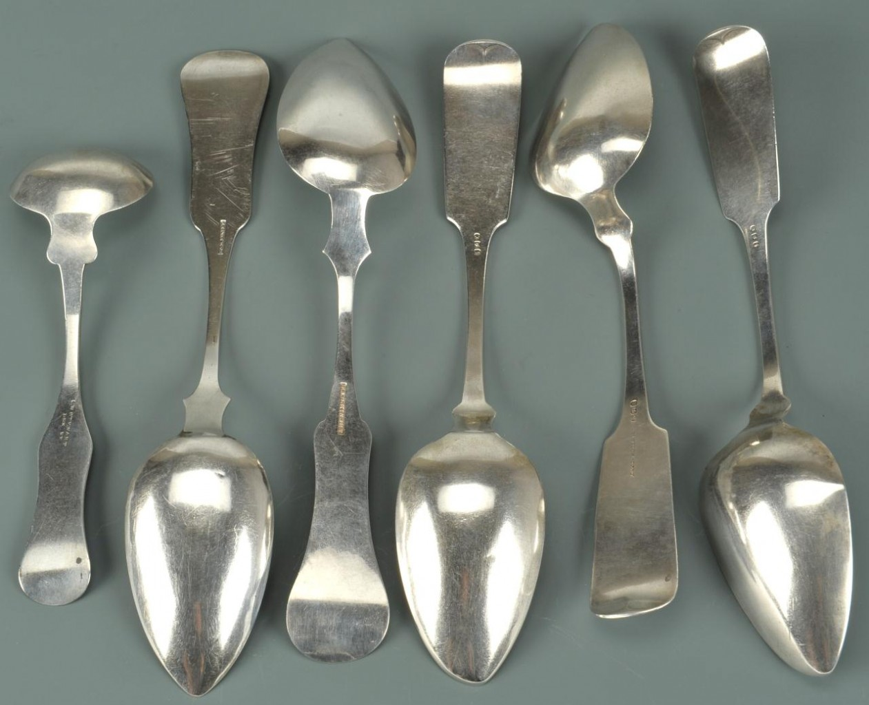 Lot 70: 6 pcs. Coin Silver flatware, KY and NY