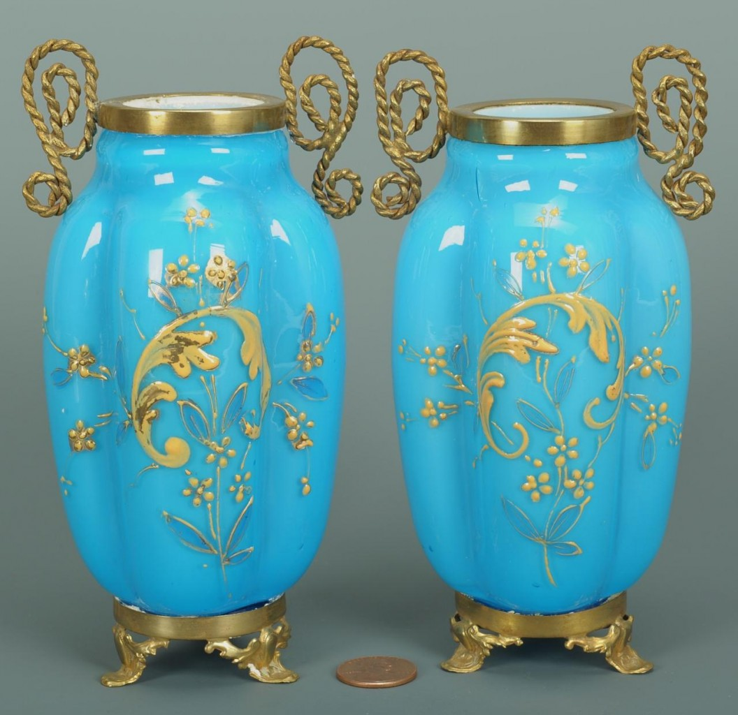 Lot 712: Pair of French Brass Mounted Opaline Vases