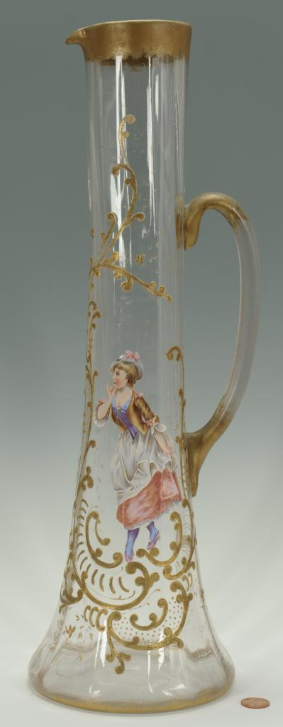 Lot 713: Victorian French Enameled Glass Vase & Pitcher