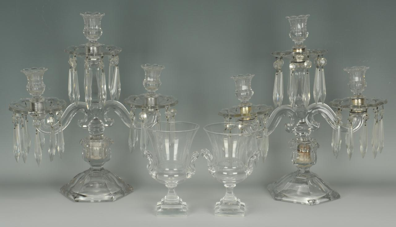 Lot 715: Pair crystal candelabra and Steuben glass urns