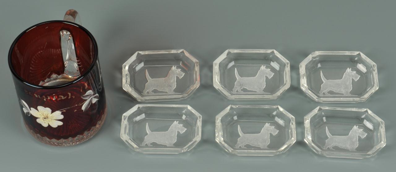 Lot 716: 3 Glass items: Pickle Caster, TN Centennial cup, S