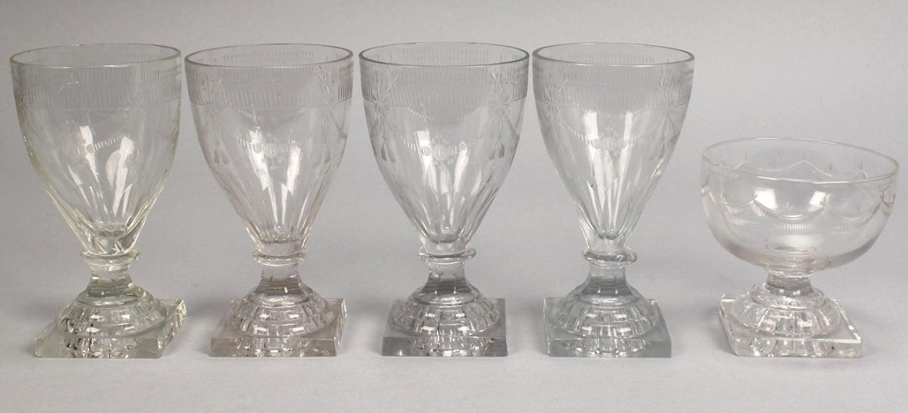 Lot 717: 4 Engraved Glass Rummers plus Dessert Dish