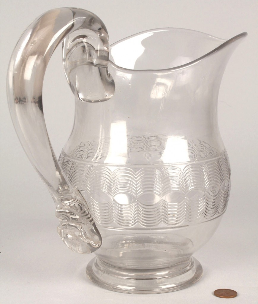 Lot 719: New England Glass Water pitcher
