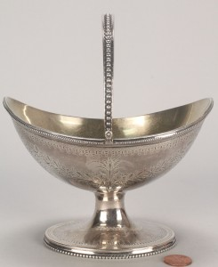 Lot 71: Federal coin silver sugar basket