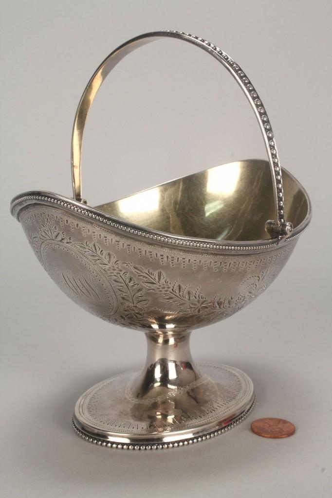 Lot 71: Federal coin silver sugar basket