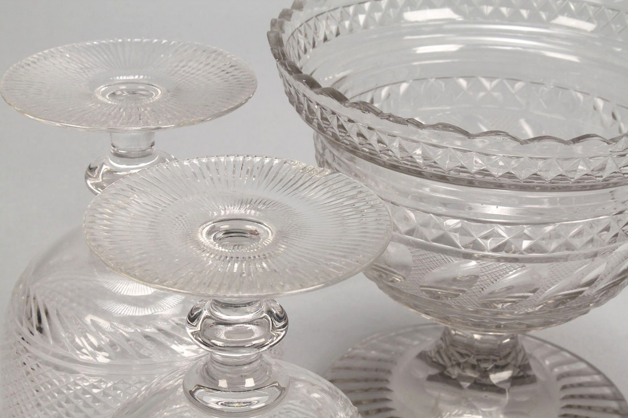 Lot 720: Lot of cut glass bowls, goblets, compotes