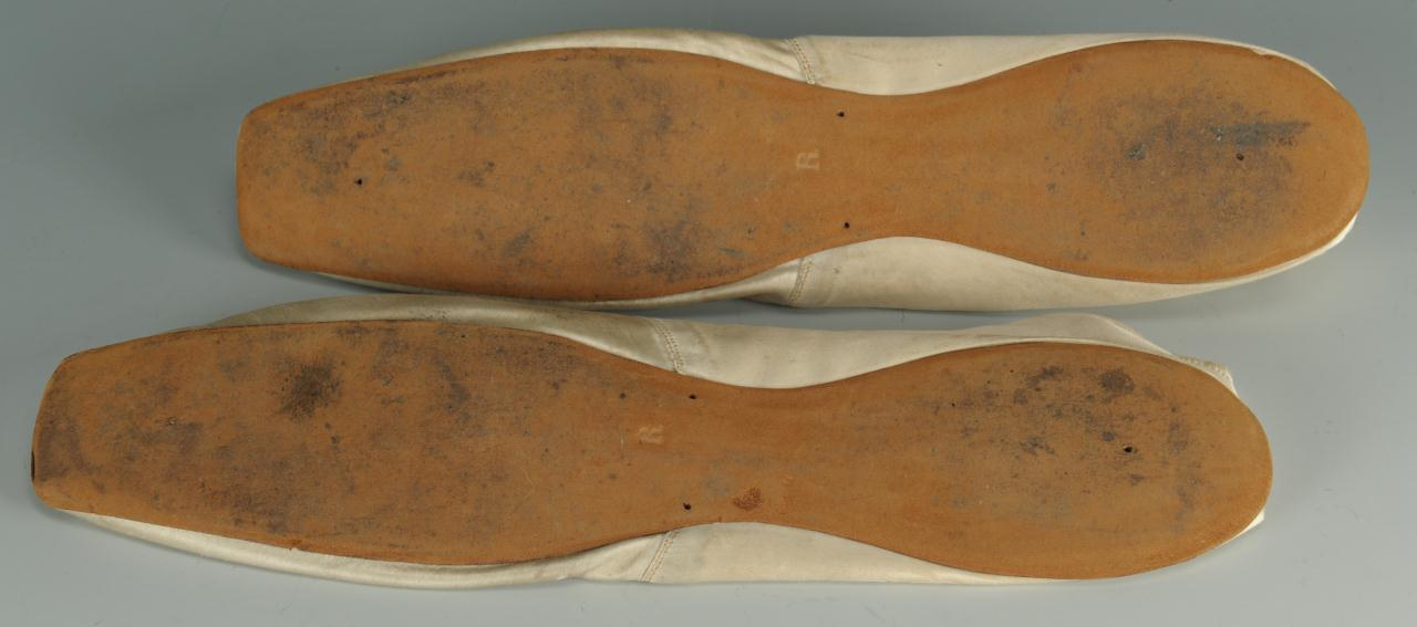 Lot 722: Pair of 19th century silk wedding slippers
