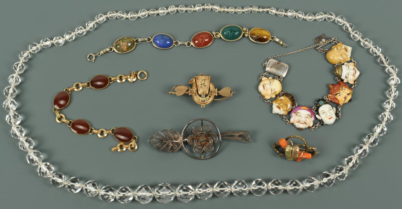 Lot 727: Assorted hardstone and Victorian jewelry, 7 pcs