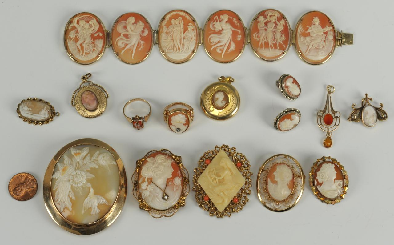 Lot 728: 14 pcs of Cameo Jewelry, some 14K and 10K