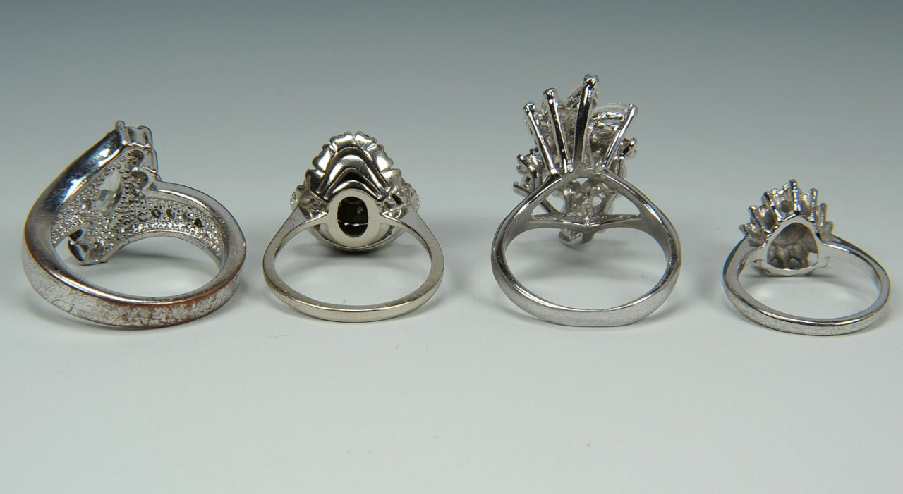 Lot 729: 14K diamond ballerina ring and three mountings