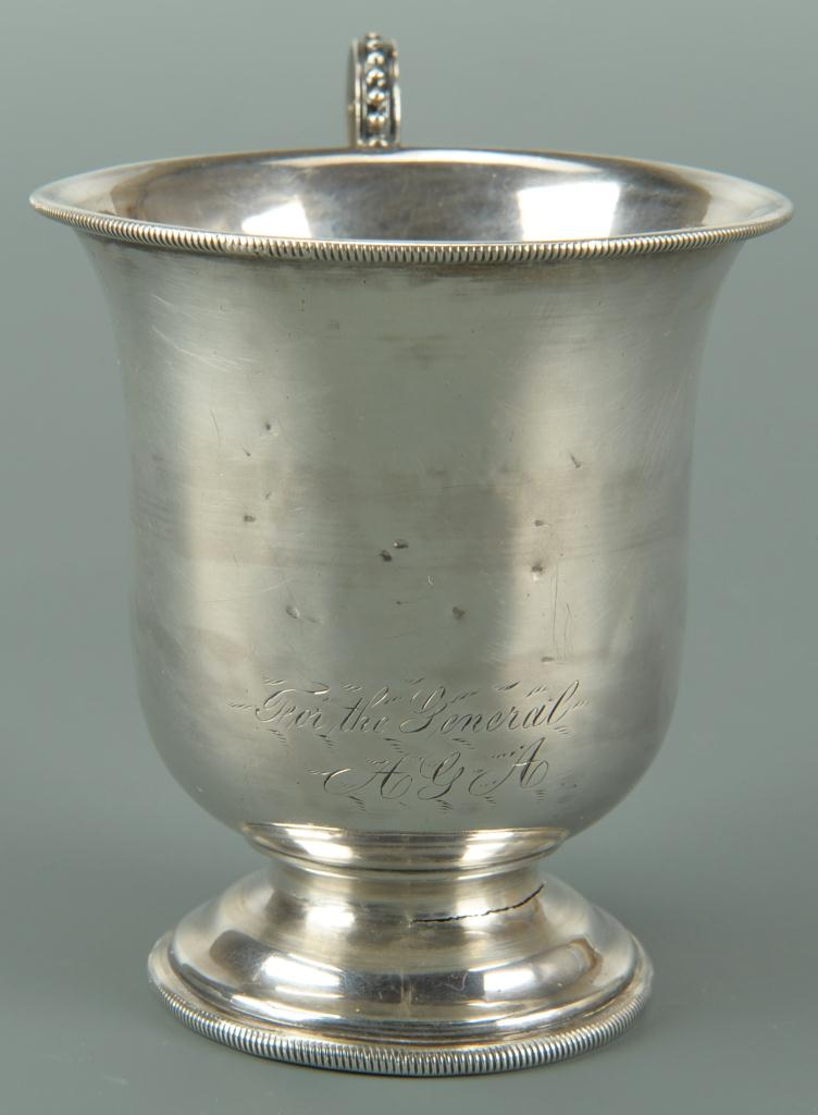 "Lot 72: Coin Silver Mug ""For the General"" and Coin Salts"