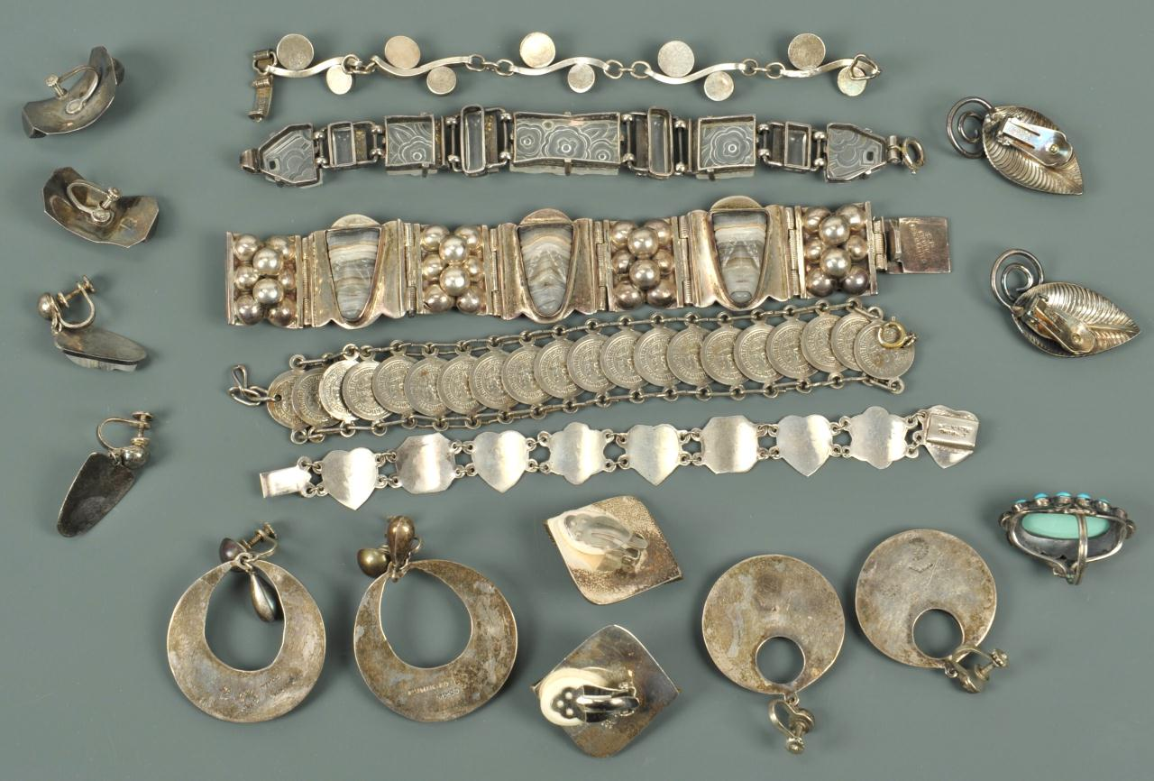 Lot 730: Assorted Silver jewelry, mostly Mexican