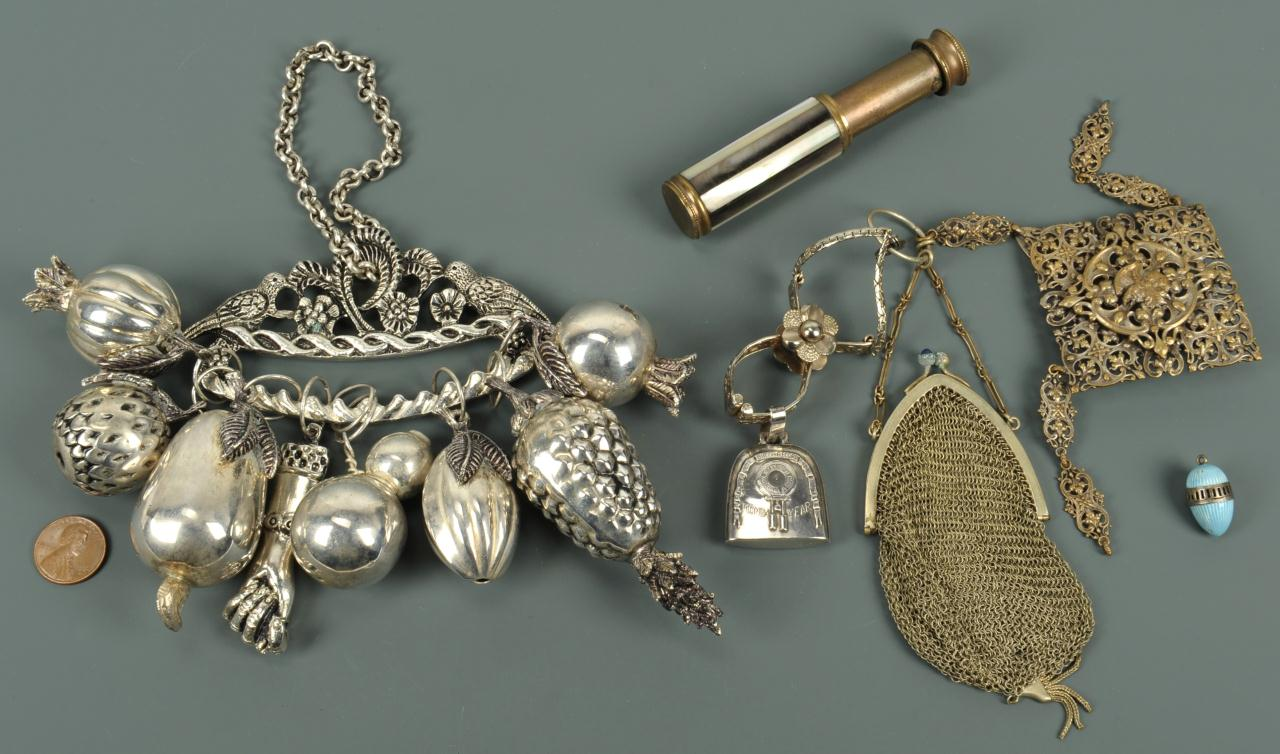 Lot 736: Lot of 4 vintage ladies items inc. chatelaines