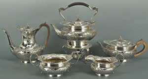 Lot 73: 5 Piece Edwardian Sterling Tea Set