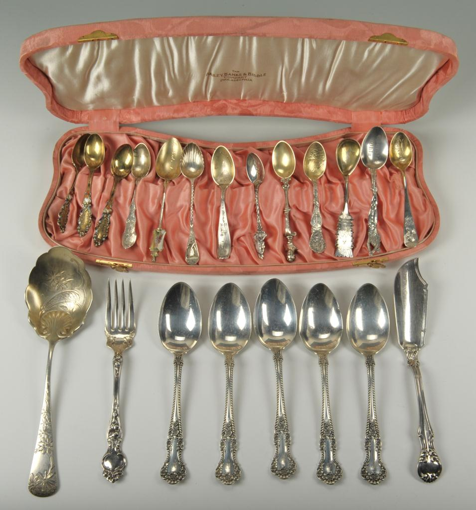 Lot 748: 13 silver souvenir spoons & 8 Pcs. Mixed Flatware