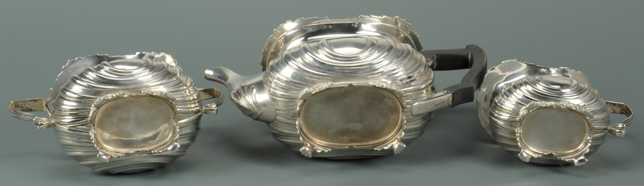 Lot 74: Edwardian Silver Tea Set, 3 pieces