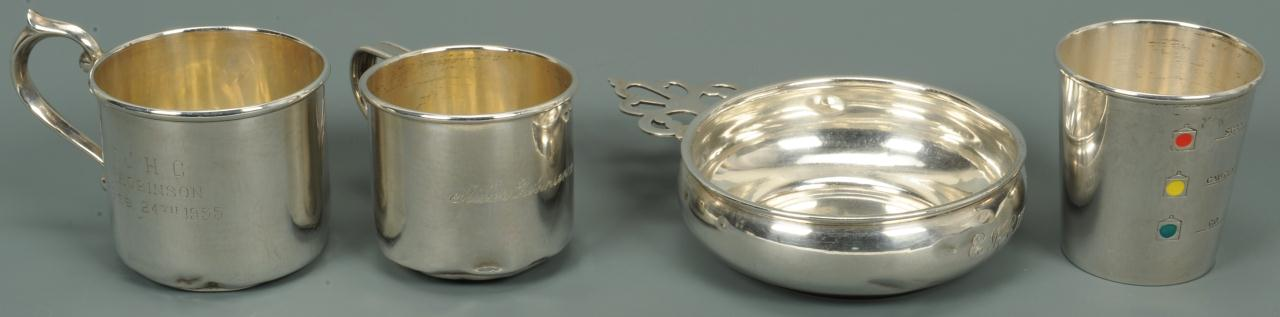 Lot 750: A Sterling Porringer and 3 Child cups