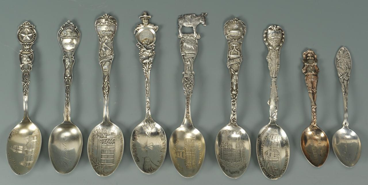 Lot 751: 9 Souvenir Spoons inc. Tenn. Watermelon