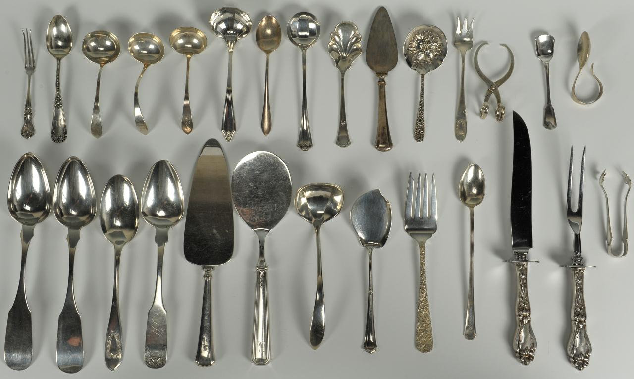Lot 752: 30 Pcs Sterling And Coin Flatware, Mainly Serving