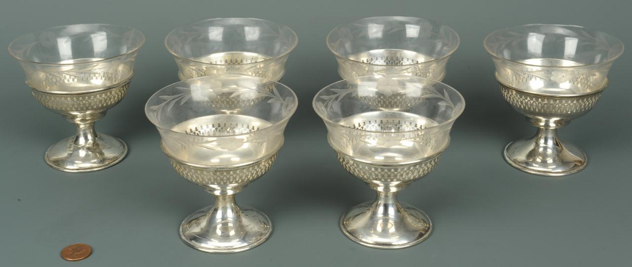 Lot 753: Set of 6 Manchester Sterling Sherbets w/ Liners