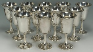 Lot 75: 12 Wallace Sterling Silver Goblets
