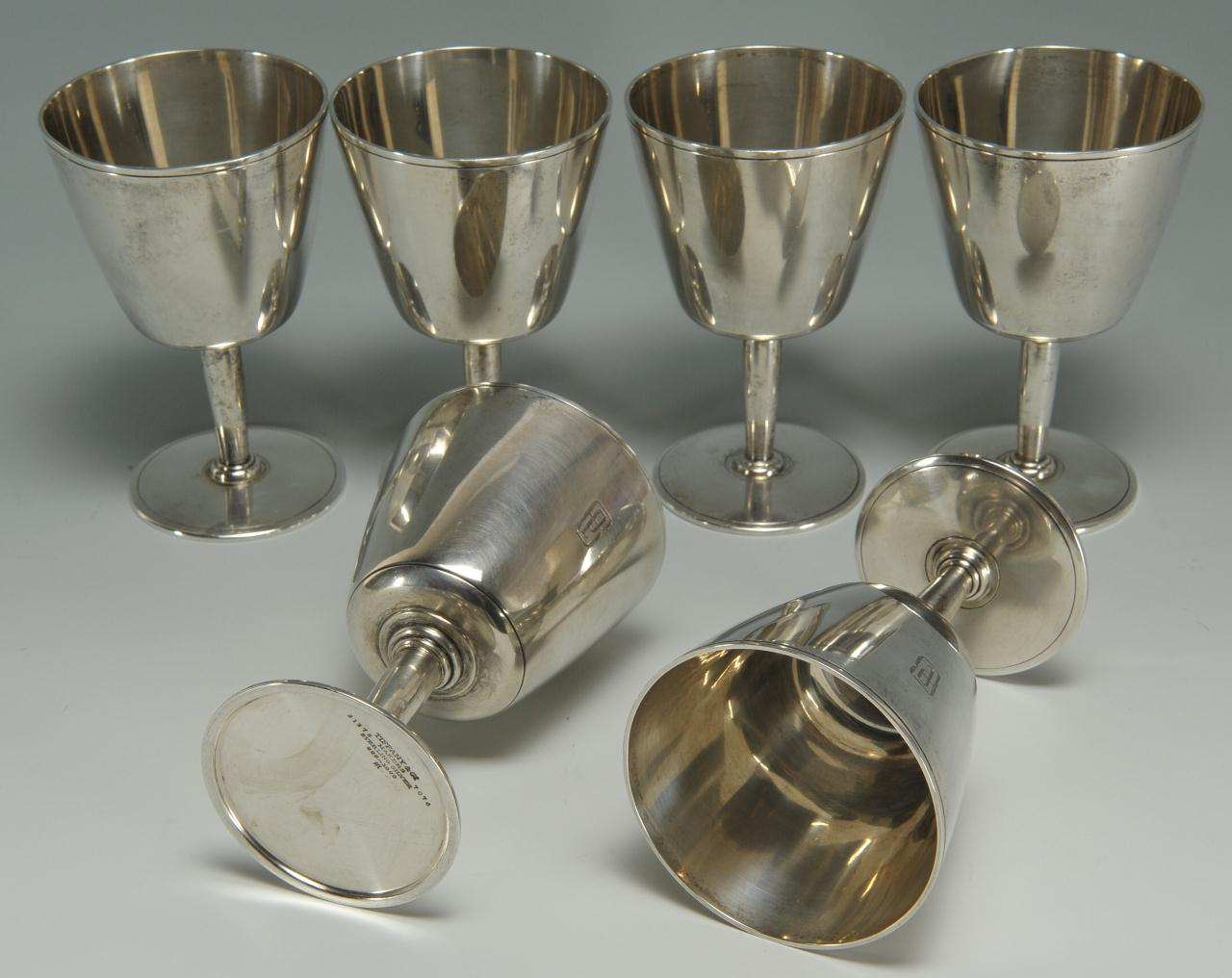 Lot 76: Six Tiffany Sterling Silver Goblets