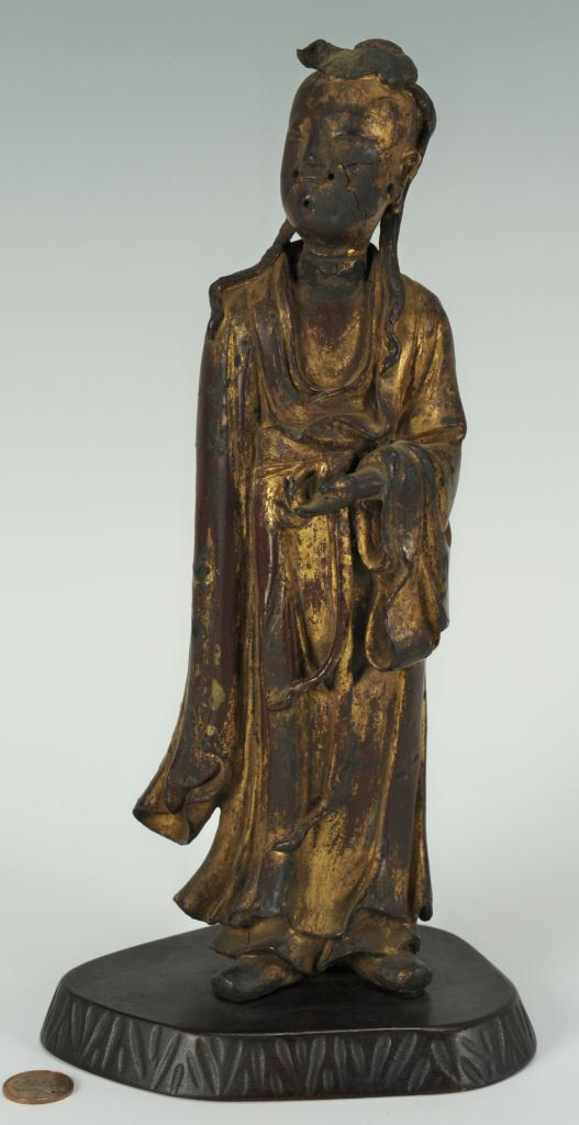 Lot 7: Chinese painted bronze figure of a Scholar