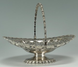 Lot 80: 19th c. Tiffany Silver Cake Basket, Grosjean and W