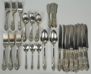 Lot 83: 64 pcs. Rosepoint Wallace Sterling Flatware