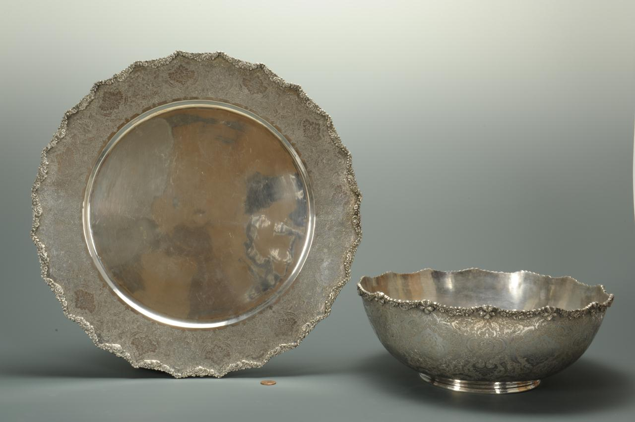 Lot 85: Hallmarked Persian Silver Punch Bowl & Underplate