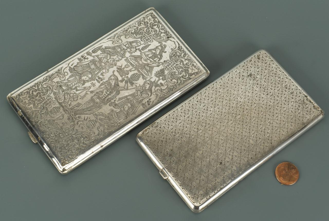 Lot 87: 7 Persian Silver Items, Cases & Salts