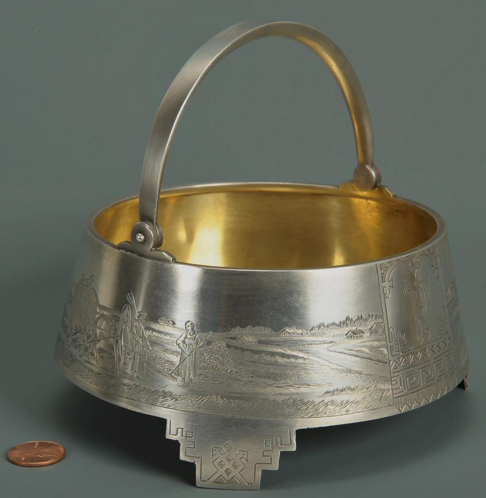 Lot 88: Russian Silver Sugar Basket with engraved farm sce