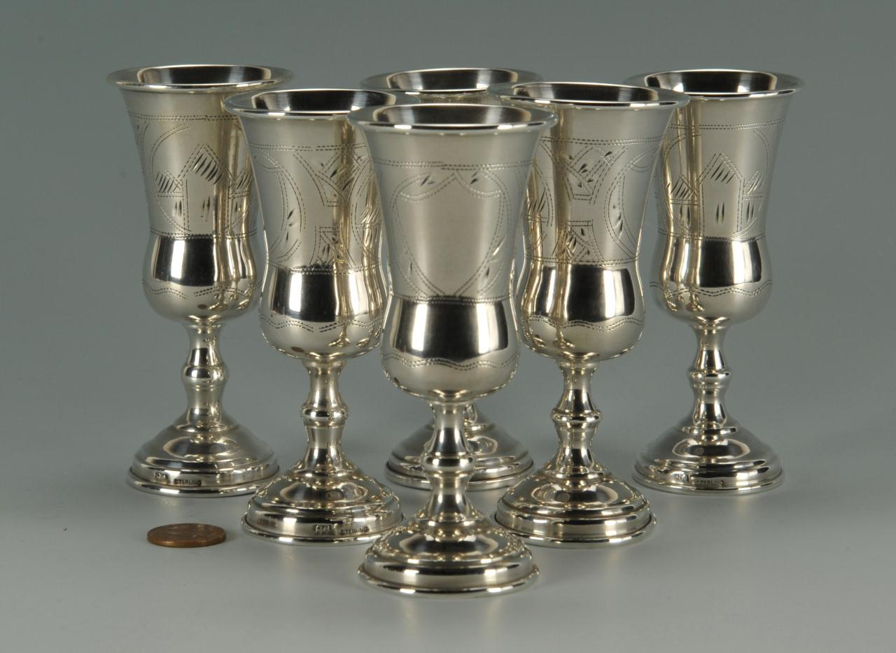 Lot 94: Set of 6 silver Russian Kiddish Goblets, Judaica