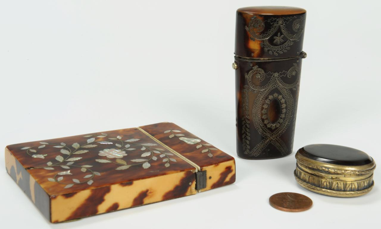 Lot 96: Three tortoise shell boxes inc card case, 19th c.