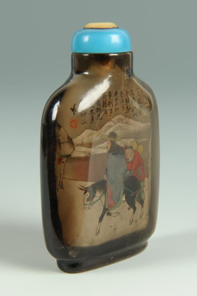 Lot 9: Chinese interior painted quartz snuff bottle