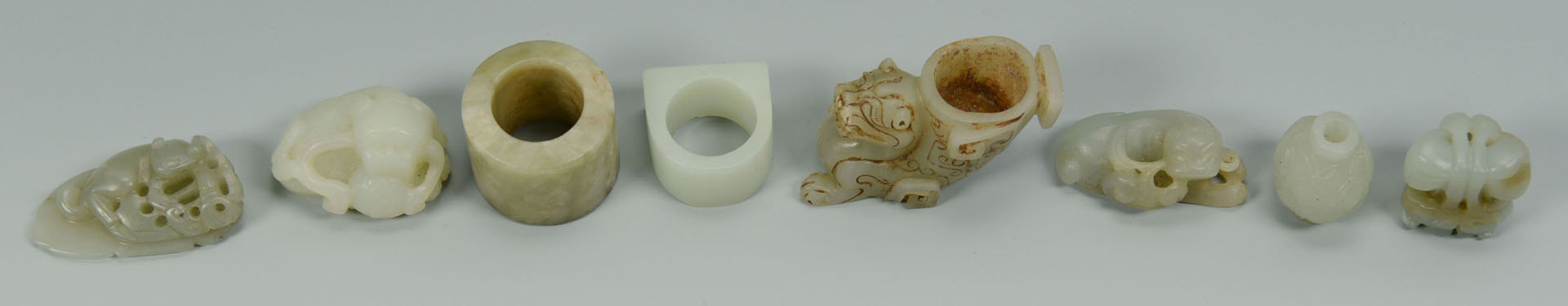 Lot 10: Grouping of 8 Carved Chinese Jade Articles