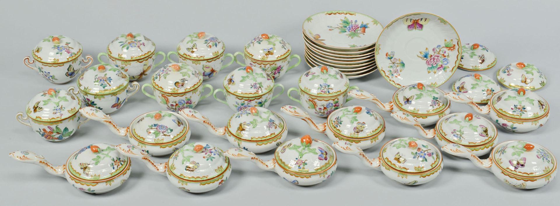 Lot 110: Rare Herend Queen Victoria Dinnerware, 33 pcs