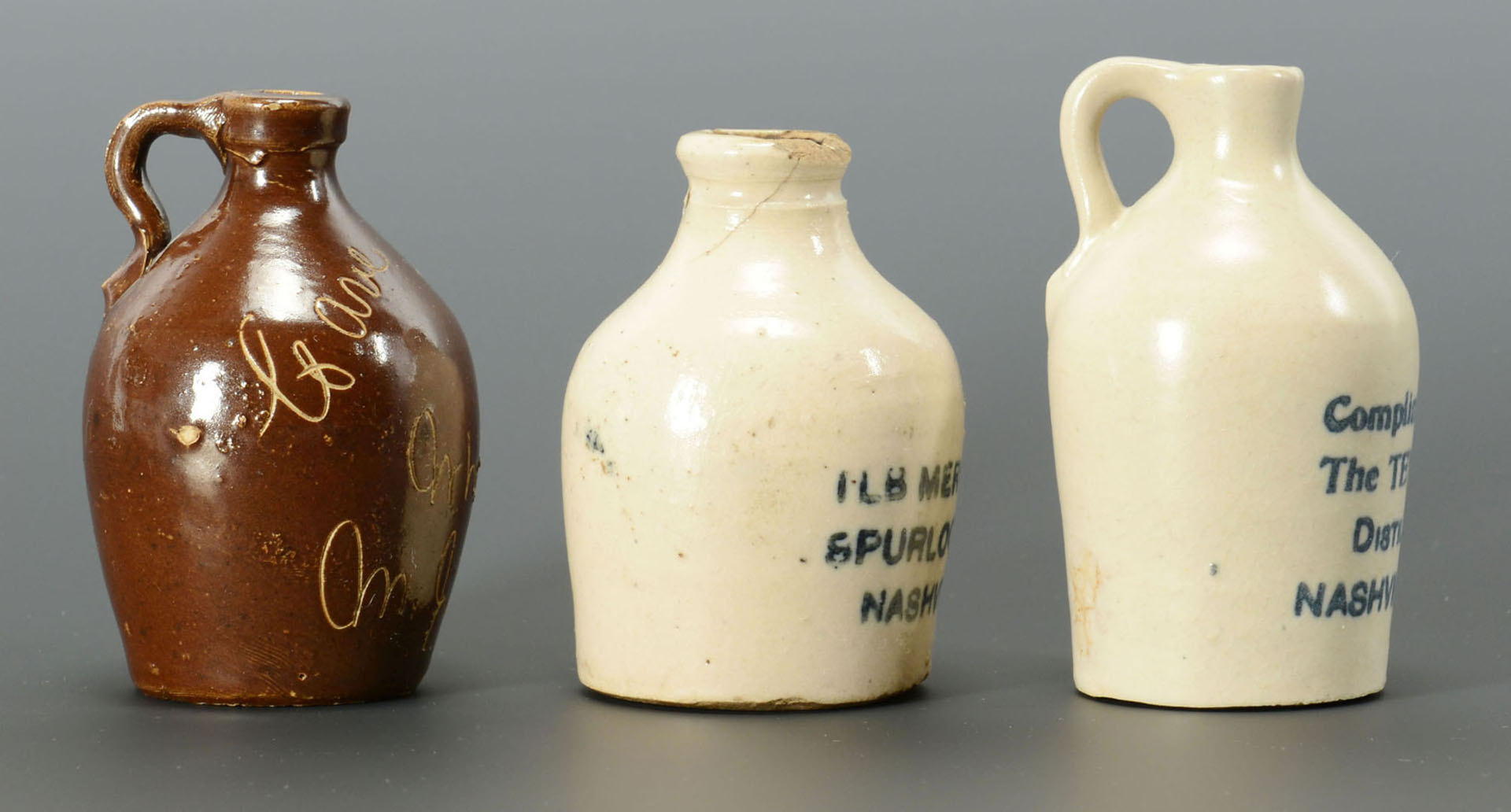 Lot 115: 3 Miniature Tennessee Whiskey Jugs, Nashville area