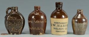Lot 118: 4 Miniature Nelson Co. Kentucky Whiskey jugs